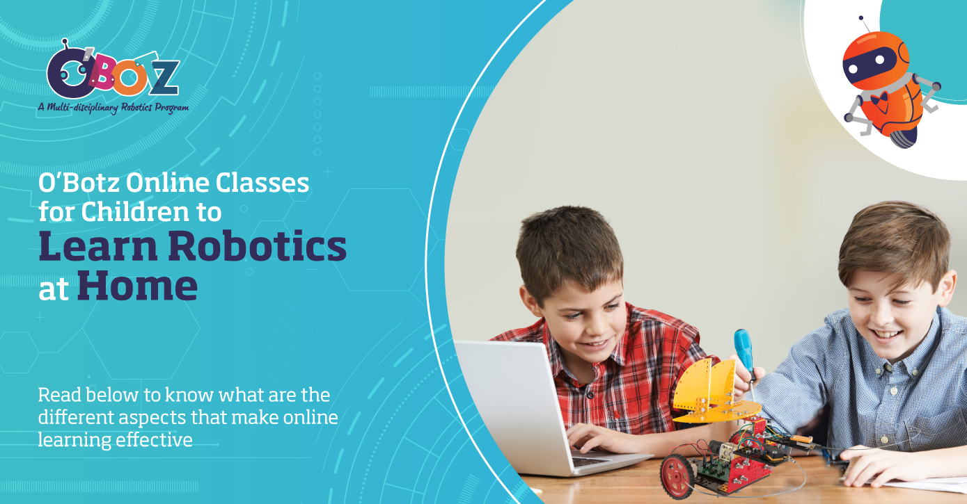 O'Botz after school program offers online classes of robotics for kids, which are based on STEM learning.